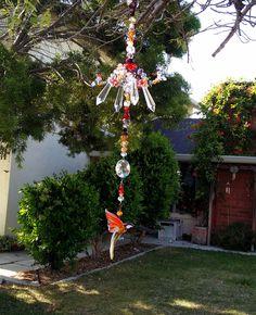 "Hummingbird- glass murano sun catcher mobile ""Ruby Light "" by fairycircledesigns on Etsy"