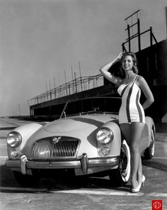 1961. Pre-race publicity shot of the sporty, hot MG. Sylvia Belcher supposedly the model.