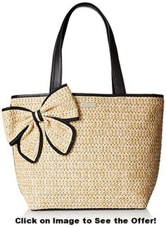 kate spade new york Belle Place Straw Summer Shoulder Bag, Natural/Black, One Size