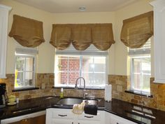 Burlap Box Pleat Balloon Valance with Rod by CasualEleganceHome $45 Burlap Valance, Valance Curtains, Balloon Valance, Window Sizes, Box Pleats, Kitchen Curtains, Large Windows, Kitchen Lighting, Curtain Rods