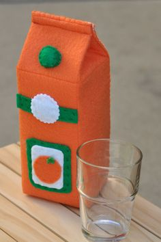 Felt Food Orange Juice Container by TheFeltedPear on Etsy