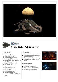 Elite: Dangerous Federal Gunship Core Dynamics Ships Brochure