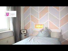 Wand streichen: bunt im Chevron Muster - DIY Eule - YouTube