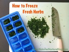 How to Freeze Fresh Herbs:  Wash, dry, chop them up, put into ice cube trays and cover with water. Freeze then transfer herb cubes to freezer bags. Just drop them right into soups, sauces, etc.