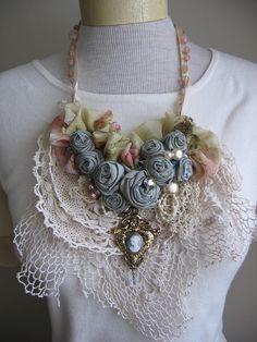 Frayed Fabric Roses Lace Bib Necklace.