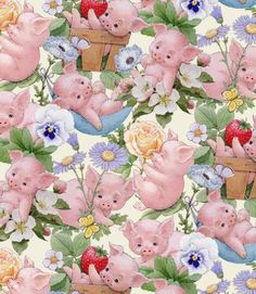 PIGS PIGLETS FLOWERS PINK WHITE COTTON FABRIC FQ