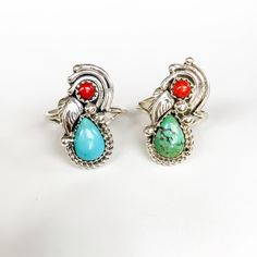 Image of CORAL and Turquoise Navajo Ring