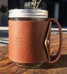Leather Handle Mason Jar Mug by Go Forth Goods
