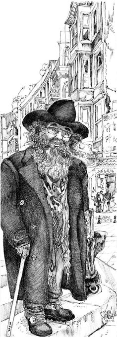 A Passerby. Signed limited edition print of original drawing of bearded local character on an old street in Istanbul, Turkey.