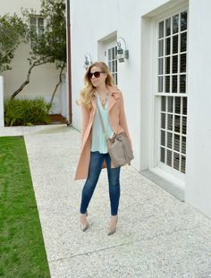 Winter Pastels - Peach Trench Coat