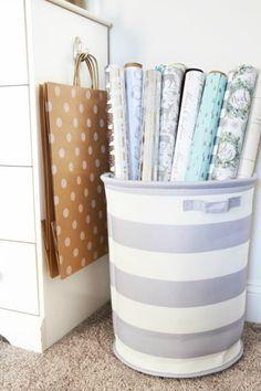 The 11 Best Gift Wrap Organization Ideas Storage Room Organization Wrapping Paper Storage Paper Storage