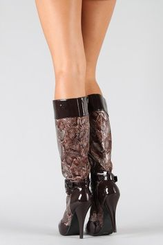 Anne Michelle Chaos-03 Snake Knee High Boot  $27.50