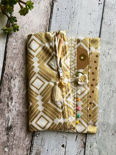Fold over pencil case and pocket pouch for Midori fauxdori travellers notebook - Luxe gold design *INCLUDES HANDMADE CHARM*