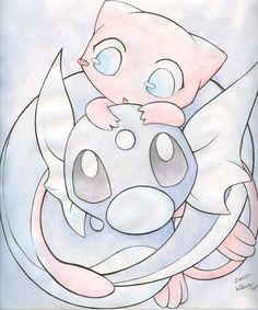 Mew and Dratini! Too cute! Dratini Pokemon, Mew And Mewtwo, Dragonair, Pikachu, Baby Pokemon, Pokemon Pins, Pokemon Fan Art, Pokemon Mignon, Cute Pokemon Wallpaper