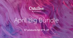 Check out April Big Bundle on Creative Market Graphics, graphic design, fonts, brush front, vectors Web Design, Blog Design, Design Ideas, Design Typography, Branding Design, Lettering, Photoshop, Texture Web, Flyer