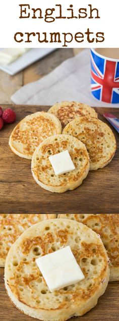 English crumpets are fluffy and light sourdough round breads with characteristic holes all over the top. They are usually served for breakfast or enjoyed as a snack.