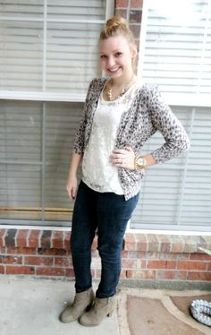 lace top, leopard cardigan, jeans, ankle boots - Goodwillista