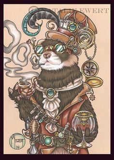 Mr. Octavius Steam Punk Ferret Signed Art Print You by natamon