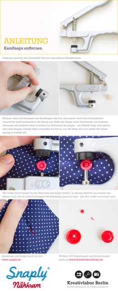 Mini-DIY: KamSnaps entfernen - Another! Sewing Basics, Sewing Hacks, Sewing Tutorials, Sewing Projects For Beginners, Knitting For Beginners, Mini Diy, Knitting Patterns, Crochet Patterns, Diy Mode
