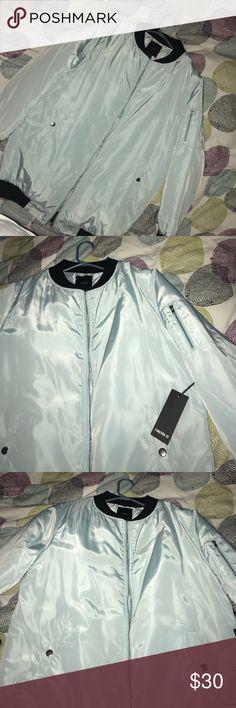 NEW Forever 21 Longline Bomber Jacket NEW Forever 21 Mint Outwear/ Jacket size L Forever 21 Jackets & Coats