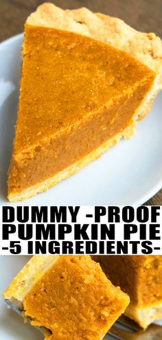 BEST PUMPKIN PIE RECIPE- Quick, easy, homemade from scratch with 5 simple ingredients. This classic Thanksgiving dessert is loaded with pumpkin pie spice, has a flaky pie crust and creamy filling with condensed milk. Can also be made crustless! Easy Pie Recipes, Quick Easy Desserts, Baking Recipes, Thanksgiving Desserts Easy, Pumpkin Recipes Healthy Easy, Milk Recipes, Potato Recipes, Pasta Recipes, Crockpot Recipes