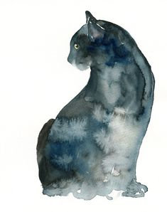 CAT by DIMDI Original watercolor painting 8x10inch. $35.00, via Etsy.