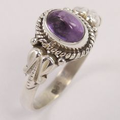 Solid 925 Sterling Silver Handcrafted Ring Size US 5 Natural AMETHYST Gemstone #Unbranded