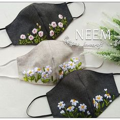 Flower Embroidery Designs, Hand Embroidery Stitches, Ribbon Embroidery, Easy Face Masks, Diy Face Mask, Sewing Crafts, Sewing Projects, Mouth Mask Fashion, Crochet Mask