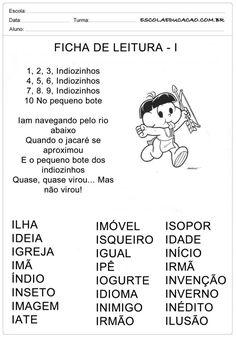 Ficha de Leitura Letra I - Índio Portuguese Lessons, Myla, Professor, Homeschool, Education, Memes, Caleb, Class Activities, Preschool Literacy Activities