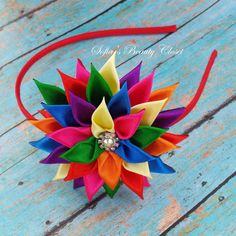 Multi Color Kanzashi Flower Hard headband by SofiasBeautyCloset