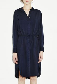 Channel Shirt Dress - Button Through Drawstring Dress - Indigo - MiH