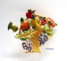 Fall Fruit Basket Brooch Enamel Pumpkins Grapes