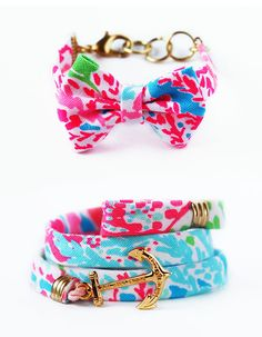 "Enter-to-win 1 of 5 exclusive Kiel James Patrick x Lilly Pulitzer bow bracelet or wrap made from our latest summer print ""Let's Cha Cha"""