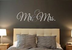 Mr Mrs Vinyl Wall Decal Wall Quotes Words for The Wall Monogram Personalized | eBay