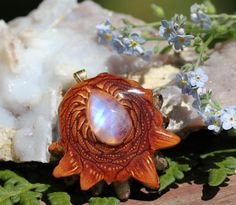 Moonstone Medium Third Eye Pinecone Talisman by ThirdEyePineCones