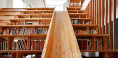 Staircase-bookcase-slide in South Korea. Picture found at Mystery Fanfare.