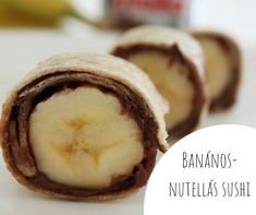 Nutella banana sushi and more fun healthy snacks for kids + adults. Nutella Brownies, Healthy Snacks For Kids, Easy Snacks, Sushi For Kids, Banana Sushi, Good Food, Yummy Food, Breakfast For Kids, Finger Foods