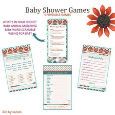 4 Baby Shower Games - Tribal Baby Shower - Aztec Baby Shower - Instant Download