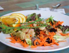Frischer Sommersalat mit Orange, Möhren, Blattsalat und knackigen Schrimps. Einfaches Low Carb Sommersalat Rezept. Jetzt mit Low Carb erfolgreich abnehmen!
