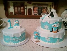 """Winter """"One""""derland Cake Cake by Tmorrow First Birthday Party Themes, First Birthday Cakes, 1st Boy Birthday, Birthday Ideas, Birthday Photos, Winter Onderland Cake, Winter Onederland, Twins 1st Birthdays, Family Birthdays"""