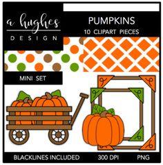 Pumpkins Mini Clipart Bundle {A Hughes Design}
