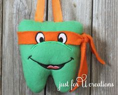 Boy's Tooth Fairy Pillow Teenage Mutant Ninja Turtles Michelangelo #Handmade