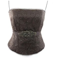 "Elie Tahari Brown Jemma Silk Bustier Top S/P $398 Deep rich chocolate brown. Beautiful lightly quilted jacquard type fabric & sheer lace trim on the top & bottom. The belt is gorgeous!  Antiqued gold color filigree metal applique. Back zipper. Spaghetti straps that can be tucked in and worn strapless. No photos can capture how beautiful this top is.   100% silk.  Fully lined.  ‼️ PRICE FIRM UNLESS BUNDLED WITH OTHER ITEMS FROM MY CLOSET ‼️  Armpit to armpit 32"" lying flat, it will…"
