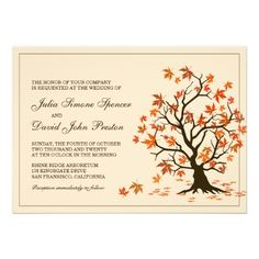 Fall Wedding Invitation With Autumn Tree Illustration #Wedding #Fall #Autumn #WeddingInvitation #FallWedding #Zazzle