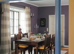 #Mauve #dining room with #mustard #accent wall and details