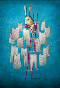 Reading on the clothesline / Leyendo en el tendedero (ilustración de Gabriel Pacheco)