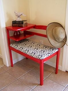 This gossip bench would work well too in a red and black and white kitchen featuring LG Black Stainless Steel Appliances Furniture Update, Home Decor Furniture, Furniture Projects, Furniture Makeover, Repurposed Furniture, Vintage Furniture, Painted Furniture, Distressed Furniture, Vintage Telephone Table