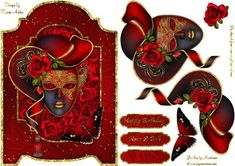 Red Rose Masquerade Screen Card on Craftsuprint designed by Karen Adair - This gorgeous screen card front features a stunning Masquerade mask, beautifully embellished with a lovely red hat and stunning red Rose. Decoupage is included along with three sentiment tags, one left blank for you to personalise if you wish. If you like this check out my other designs, just click on my name. - Now available for download!