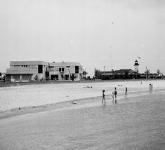 Pontchartrain Beach remembered-A view of the Pontchartrain Beach location, circa 1935. In this photo, WPA workers were completing the bath house, and the sand beach had been created. At this point, however, the amusement park was still located at Spanish Fort had not yet been moved to this location (Photo courtesy LOUIS Digital Library)