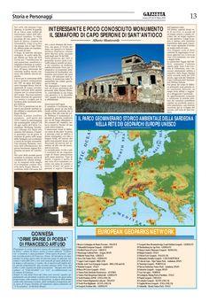 """La Gazzetta del Sulcis. n. 479. 25 marzo 2010. Alberto Monteverde. """"Un interessante e poco conosciuto monumento. Il Semaforo di Capo Sperone di Sant'Antioco""""."""